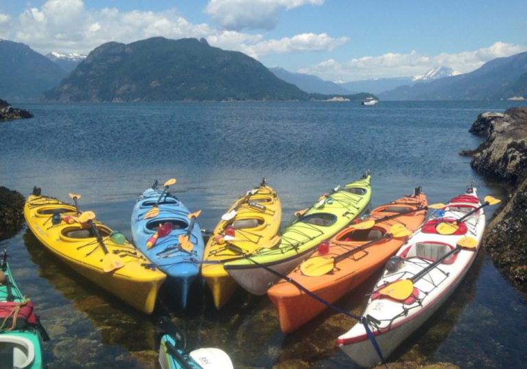 Several kayaks on in a rocky bay with an island in the background