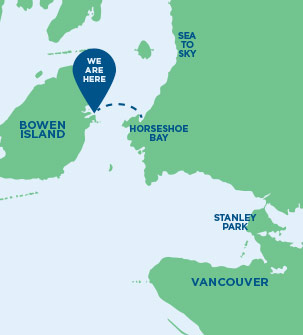 "Map showing Howe Sound, Bowen Island, West/North Vancouver and Vancouver. There is a ""We are Here"" location marker indicating Snug Cove, Bowen Island."