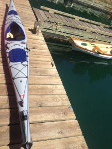 Gray kayak on a dock