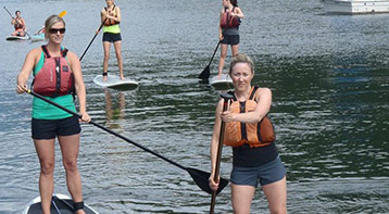 Several women on stand up paddle boards
