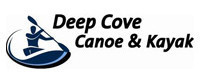 Drawing of a person in a kayak with the words Deep Cove Canoe & Kayak beside it (Logo of Deep Cove Kayak)