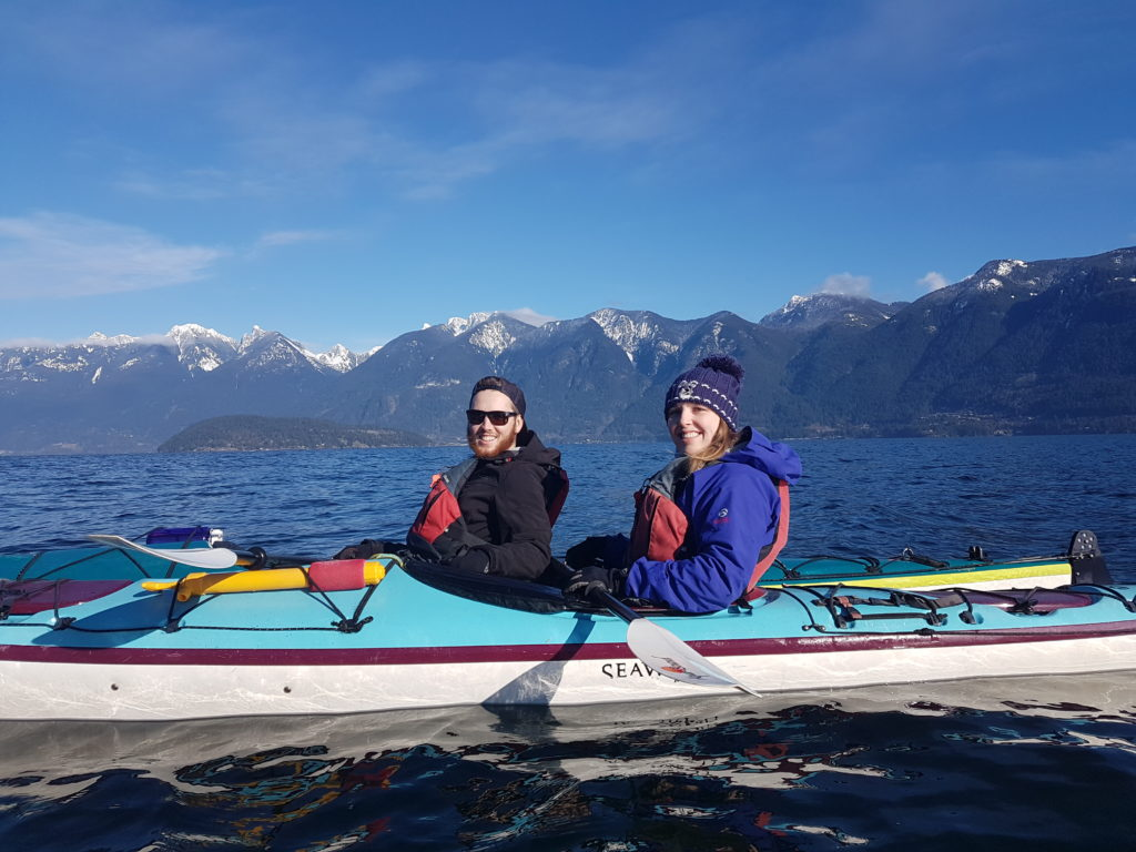Two adults kayaking
