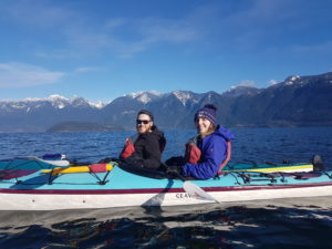 Two adults kayaking