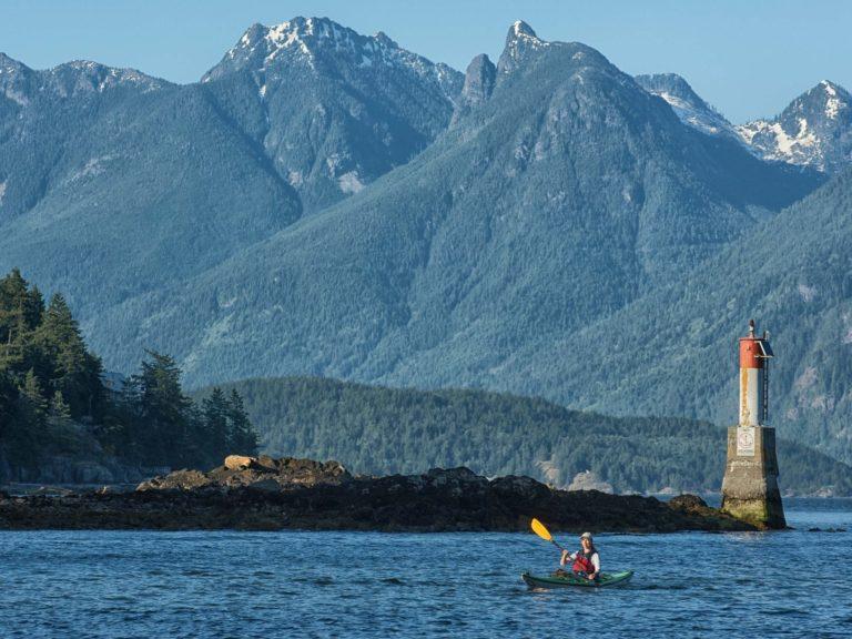 kayaking coast mountains